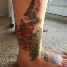 A Roald Dahl reading tattoo...I love this image, such a great tattoo!