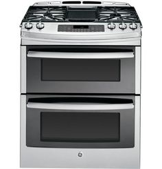 "PGS950SEFSS | GE Profile™ Series 30"" Slide-In Double Oven Gas Range 
