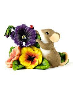 Look at this #zulilyfind! Pansy Patch Mouse Figurine #zulilyfinds