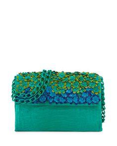 Floral Flap-Top Crocodile Shoulder Bag, Green by Nancy Gonzalez at Bergdorf Goodman.