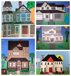 Frank Lloyd Wright Homes: architecture, collage, line, shape, texture art project for 3rd through 5th grade