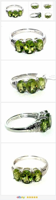 Natural Peridot 3-stone ring 3.00 carats size 7 Silver USA Seller #EBAY http://stores.ebay.com/JEWELRY-AND-GIFTS-BY-ALICE-AND-ANN