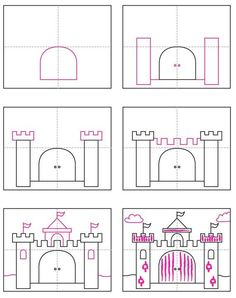 Draw a Castle · Art Projects for Kids Drawing Lessons, Art Lessons, Drawing For Kids, Art For Kids, Kid Art, Projects For Kids, Art Projects, Castle Drawing, Directed Drawing