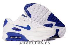 sports shoes 16a7d 86061 Nike Air Max 90 Blanco Royal Hombre Zapatos Zapatillas Nike Air, Tenis,  Hombres,