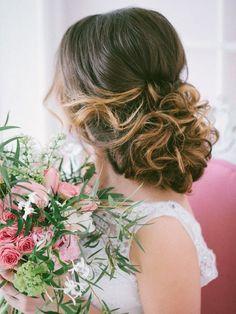 long wavy wedding updo highlight color