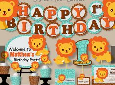 Boy Lion Birthday Party Theme or Baby Shower  - Invitations, Invites, Cupcakes, Decorations, Cake, Favors, Banner, Signs Centerpiece, Hat #bcpaperdesigns