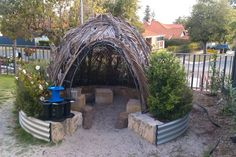 Beautiful outdoor gathering area - Natural Inspired Environments ≈≈ bent branches instead of palm fronds Eyfs Outdoor Area, Outdoor Areas, Outdoor Fun, Natural Play Spaces, Outdoor Play Spaces, Natural Playground, Outdoor Playground, Playground Ideas, Outdoor Education