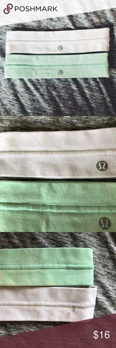 ☆ set of 2 lulu headbands white & mint lulu headbands! there's a small makeup spot on the back of the white one-as pictured. you can't see it when you're wearing it with the lulu symbol facing front. & i'm sure it could be removed with some stain remover. lululemon athletica Accessories Hair Accessories