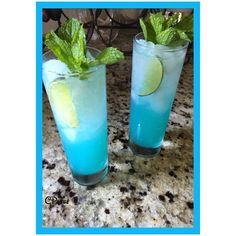 Blue Thai Mojito Blue Curaçao Coconut-Mint Simple syrup Lime juice Bacardi Limòn Raspberry Sparkling H2O