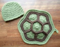 Crocheted Little Turtle Set, Newborn Photo Prop, Dusty Green & Cocoa Brown, Baby Shower Gift, Two Piece Turtle Set - MADE TO ORDER