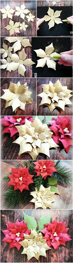 How to Make Lighted Poinsettia Garland Step by Step Tutorial is part of Paper crafts Step By Step - How to Make Lighted Poinsettia Garland Step by Step Tutorial Christmas decor ideas Paper poinsettia flower template and tutorial Paper Flowers Diy, Handmade Flowers, Flower Crafts, Diy Paper, Paper Art, Paper Crafting, Wooden Flowers, Flower Art, Diy Christmas Garland