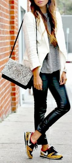 Sneakers and leather leggings.  I'm already dressed! Habitually Chic®