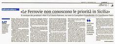 Le Ferrovie non conoscono le priorità in Sicilia   Comitato Pendolari Siciliani