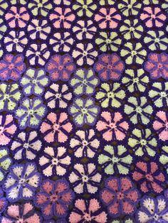 Afghan Blanket Snowflake Pattern in Purple, Pink, and White. by HautelAudubon on Etsy https://www.etsy.com/listing/467924171/afghan-blanket-snowflake-pattern-in