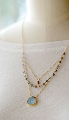 Aqua druzy layered necklace. By Kahili Creations of Hawaii...