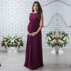 Maternity Lace Maxi Gown