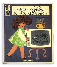 Petite abeille et la télévision 文 Tamara Danblon / 画 Pili Mandelbaum / Dupuis / 1970 / 20×24cm 20P Petite Abeilleシリーズの4巻。布と糸と紙を使った素朴な貼り絵...