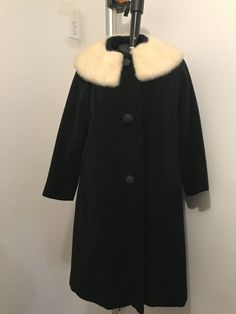Falco Fashion New York Women's Black Wool Coat With Real Fur Collar Extra Large    eBay