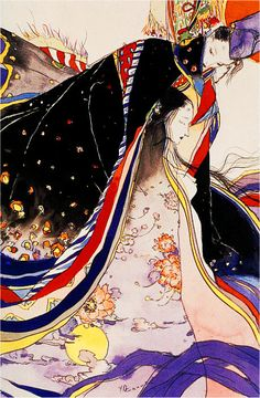 Tale Of Genji by Yoshitaka Amano. This is a scene of the Tale of Genji. The Tale of Genji is a story written by Miss Murasaki in 1008.