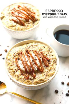 Check out this delicious recipe for Espresso Overnight Oats with Salted Date Caramel! Its healthy, yummy, and easy! Just 10 minutes of prep time for a delicious morning meal, allowing you to drink your coffee and eat it, too! Perfect for those on-the-go Healthy Oatmeal Recipes, Oats Recipes, Healthy Breakfast Recipes, Clean Eating Recipes, Cooking Recipes, Vegetarian Breakfast, Healthy Snacks, Healthy Eating, Enjoy Your Meal