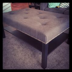 Ikea coffee table to tufted ottoman tutorial