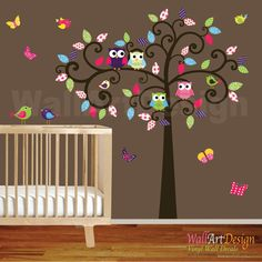 Swirl Tree Vinyl Decal with Owls and Birds by wallartdesign, $125.00