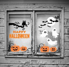Great Halloween Decoration! Works great on windows and interior walls.  If there are color requests other than what is pictured, let us know, we are happy to accommodate. Please refer to picture with labeled sizes for sizing.  Check out all of our other fabulous wall decals here: http://www.etsy.com/shop/WallGlitz       Customize your order: • All of our decals can be custom sized larger or smaller and we can add additional colors. Contact us for pricing! • We can do custom design requests…