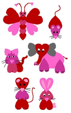 Paper Heart Animals: construction paper in Valentine colors, scissors, markers, glue. Valentine's Day Crafts For Kids, Valentine Crafts For Kids, Holiday Crafts, Toddler Crafts, Kinder Valentines, Valentines Art, Valentine Colors, Heart Crafts, Drawing For Kids