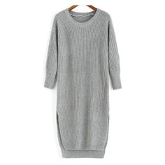 Slit High Low Grey Sweater Dress ($14) ❤ liked on Polyvore featuring dresses