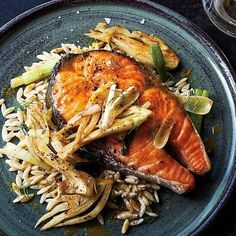 Salmon Steak for dinner! Want it spicy? Just add a spoonful of our Sriracha, Shallot, & Scallion Butter #salmon #dinner