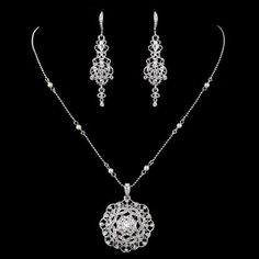 ********CZ and pearl pendant style necklace and earring set for the bride. $97
