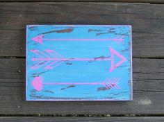 Bohemian Arrow sign Boho wood wall plaque arrows hand painted