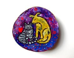 Modern Dog and Cat Painting Valentines Day by KneeDeepOriginals