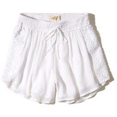 Hollister Drawstring Woven Shorts ($18) ❤ liked on Polyvore featuring shorts, white, woven shorts, hollister co. shorts, white shorts, drawstring shorts and draw string shorts