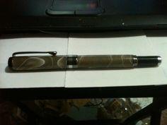 American Flat top Fountain pen med.- broad nib. Gray swirl & Gun metal