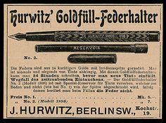 Alte Reklame Werbung 1898 Hurwitz Goldfüll-Federhalter Berlin • EUR 6,99