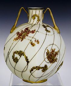 Mt Washington Crown Milano Vase With Stylized Floral Decoration. Mount Washington, Aesthetic Movement, Vases, Art Nouveau, Glass Company, Early American, Colored Glass, Glass Art, Christmas Bulbs