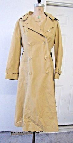66063bbe1b Vintage Tan Trench Coat Women's Medium With Plaid Hood Button-Up CLASSIC!!  #unknown #Casual