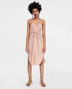 ZARA - WOMAN - CHECKED DRESS WITH KNOT DETAIL