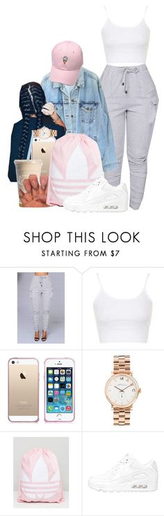 """""""Girly +Tomboy"""" by melaninprincess-16 ❤ liked on Polyvore featuring Topshop, Levi's, Marc Jacobs, adidas and NIKE"""