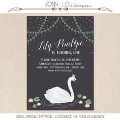 swan invitation - swan party theme - birthday - baby shower - wedding - hand illustrated - simple - DIY - custom invite - printable by VonnLouDESIGNS on Etsy https://www.etsy.com/listing/234293025/swan-invitation-swan-party-theme