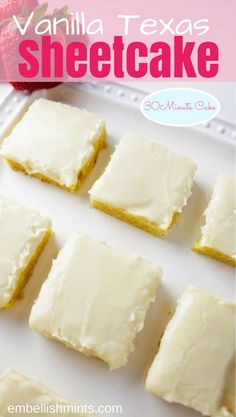 Just like the original, c… Vanilla Texas Sheetcake // 30 Minute Sheetcake Recipe. Just like the original, chocolaty sheet cake you love! Find both crowd pleasing recipes right here. Cheesecakes, Köstliche Desserts, Dessert Recipes, Vanilla Desserts, Dessert Bars, Healthy Desserts, White Texas Sheet Cake, Vanilla Sheet Cakes, Vanilla Cake