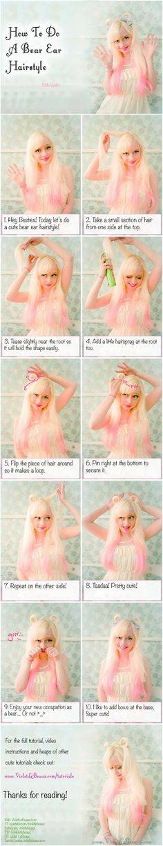 Bear Ear Hair Tutorial | Violet LeBeaux- Cute Free Craft Tutorials