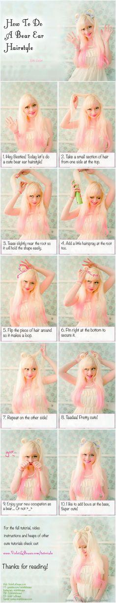 Bear Ear Hair Tutorial | Violet LeBeaux- Cute Free Craft Tutorials
