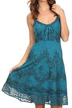 Sakkas 4031 Stonewashed Rayon Adjustable Dress - Turquoise Blue - S/M Sakkas