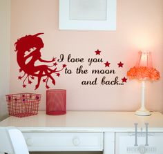 I Love You to the Moon and Back Vinyl word decal lettering Fairy Wall quote Girls Baby Nursery decor. $21.00, via Etsy.