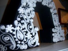 How to make a quilled paisley monogram from scrap cardboard and cardstock! #crafts
