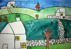 2nd grade - learn how to draw houses with two sides, then draw a fun scene to paint in watercolor (2 lessons)