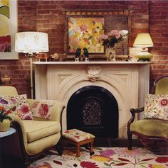 Ideas for floral pattern traditional living room . Flower throw pillows, rug and accent pieces. #spring #decor