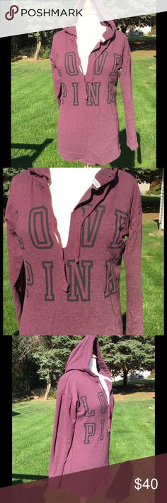 VS Pink Hooded Sweatshirt Excellent condition, oversized, soft, eggplant colored v-neck sweatshirt with black lettering and drawstring hood. 60% cotton, 40% polyester. PINK Victoria's Secret Tops Sweatshirts & Hoodies
